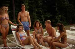 Teens at a pool party; Size=240 pixels wide
